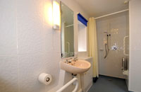 Bathroom. Looks modern and clean. You can see a large shower, sink and other disablility aids. Looks nice.
