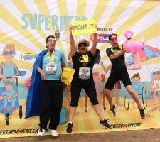 Team Calvert Trust Exmoor on podium at Superhero Tri